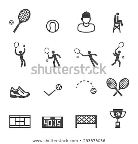 Tenis sayı tahtası ikon arka plan mektup tahta Stok fotoğraf © angelp