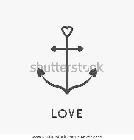 Sevimli ikon kalp çapa simge yalıtılmış Stok fotoğraf © adrian_n