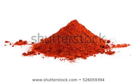 Piros paprika por halom fából készült merítőkanál föld Stock fotó © Digifoodstock