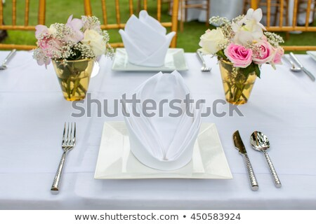 Set of the napkins with vintage ring on the wooden table top vie Stock photo © Karpenkovdenis