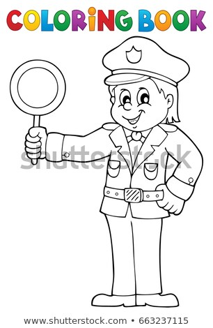 Coloring book policeman holds stop sign Stock photo © clairev