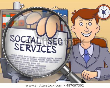 inhoud · marketing · vergrootglas · doodle · man - stockfoto © tashatuvango