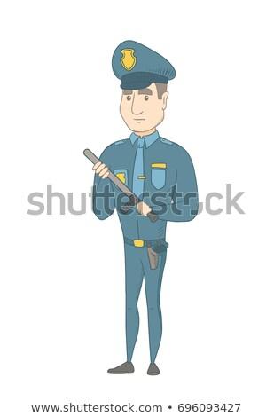 Fiatal komoly kaukázusi rendőr visel kék Stock fotó © RAStudio