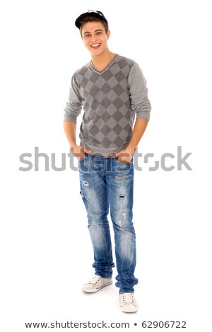 Teenage caucasian white boy in baseball cap. Stock photo © RAStudio