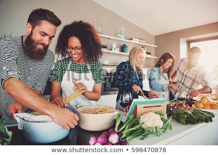 Festa cozinhar comida vinho homem diversão Foto stock © IS2