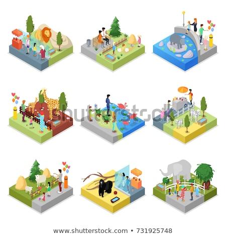 gaiola · isométrica · 3D · ícone · público · jardim · zoológico - foto stock © studioworkstock
