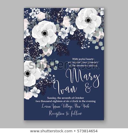 Ebegümeci çiçekler düğün davetiyesi şablon düğün davetiye Stok fotoğraf © Krisdog