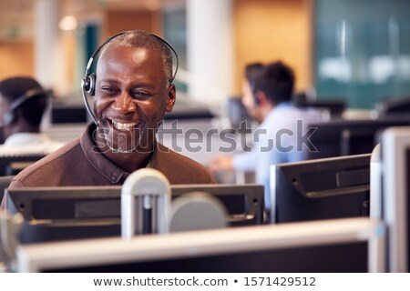 человека · телефон · гарнитура · телефон · работу - Сток-фото © is2