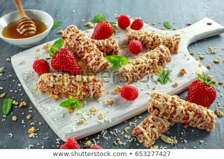 Sweet cereal bars on board Stock photo © dash