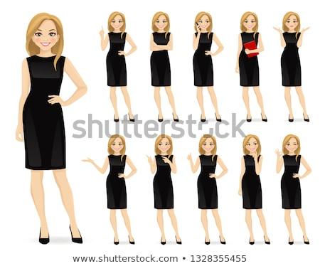 Cartoon Woman Black Dress Thumbs Up Stock photo © cthoman