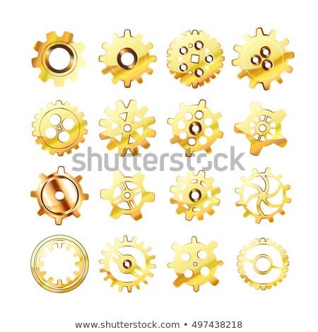 Set of realistic glossy golden cogwheels on white Stock photo © Evgeny89