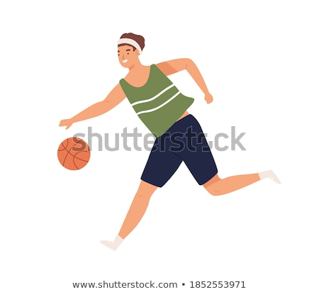 Sportive Man Running with Ball Vector Illustration Stock photo © robuart