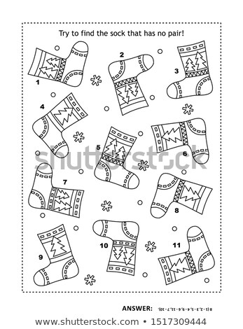 Vinden een kleurboek zwart wit cartoon Stockfoto © izakowski