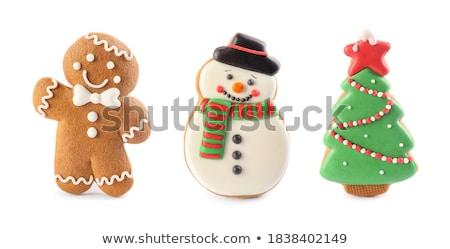 sneeuwpop · peperkoek · cookie · gingerbread · man · hoed · sjaal - stockfoto © fotogal