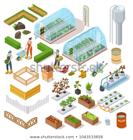 Greenhouse Hothouse and Fence Vector Illustration Stock photo © robuart
