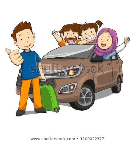 мусульманских семьи вождения автомобилей иллюстрация улыбка Сток-фото © artisticco