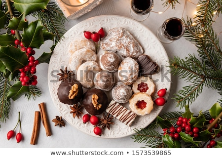 Linzer Christmas cookies arranged on a plate, top view Stock photo © madeleine_steinbach