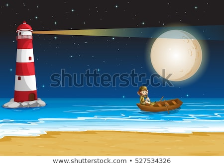 Scene with lighthouse and girl in boat Stock photo © colematt