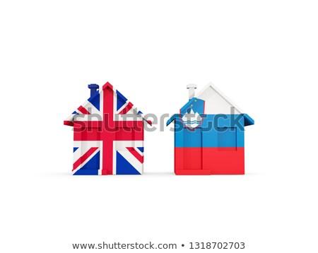Iki evler bayraklar Büyük Britanya Slovenya yalıtılmış Stok fotoğraf © MikhailMishchenko