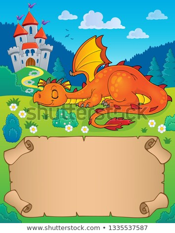 small parchment and sleeping dragon stock photo © clairev