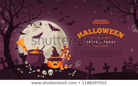 Halloween abóboras esqueleto decorações férias Foto stock © dolgachov