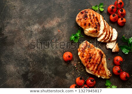 Grilled chicken breast with sauce and cherry tomatoes Stock photo © Alex9500