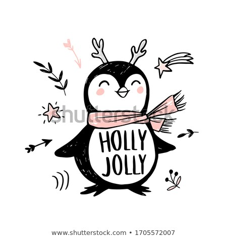 Merry Christmas Holly Jolly Penguin in Winter Stock photo © robuart