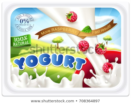 Ripe red raspberry fruit dropping into yoghurt splash Stock photo © LoopAll