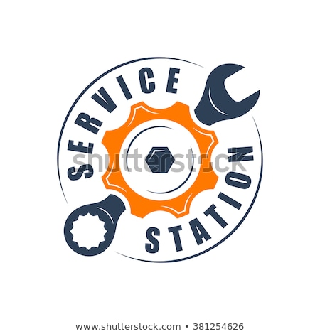 service station - logo design with car and wrench Stock photo © djdarkflower