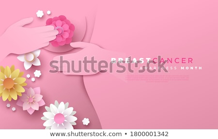Papercut woman with pink spring flowers Stock photo © cienpies