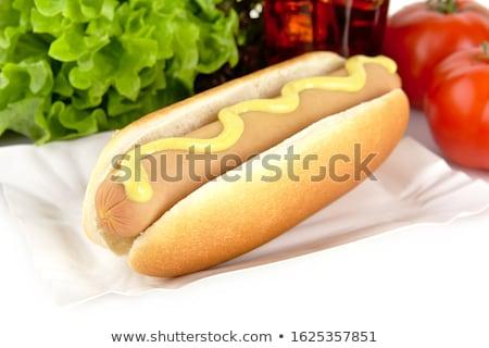 Hotdog tálca kóla fehér hot dog sültkrumpli Stock fotó © dla4