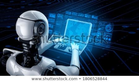 Insansı robot tablet 3d illustration Stok fotoğraf © limbi007