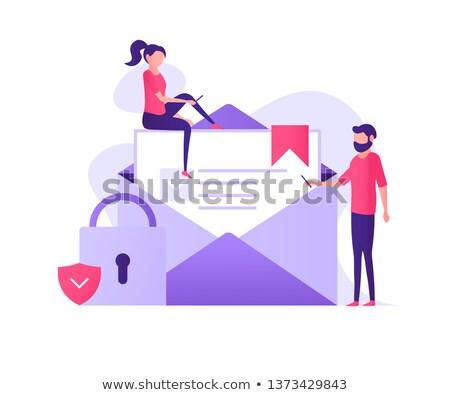 Biztosítás leszállás oldal üzletemberek munka laptopok Stock fotó © RAStudio