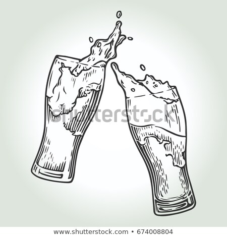 Hand Drawn Glass With Foam Bubble Drink Vector Stock photo © pikepicture