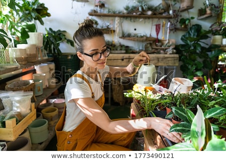 Woman at Home Caring for Plants Watering Flora Stock photo © robuart