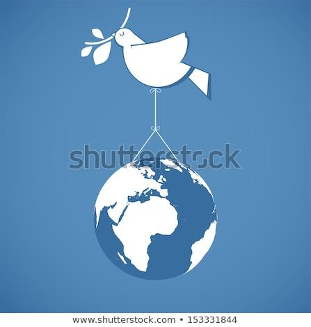 Duif vrede teken draad illustratie hemel Stockfoto © adrenalina