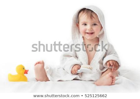 Сток-фото: ребенка · полотенце · изолированный · белый · ребенка · красоту