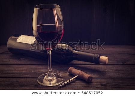 élégante verre vin rouge tire-bouchon noir pierre Photo stock © DenisMArt