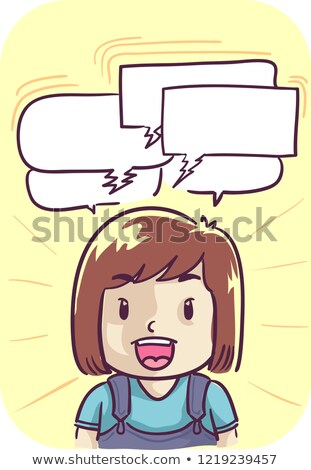 Kid Girl Talking Quickly Illustration Stock photo © lenm