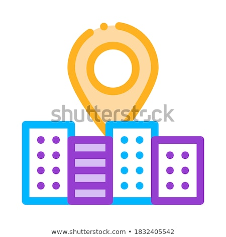 Gps Locaton Mark And Building Vector Sign Icon Stock photo © pikepicture