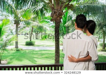 вид сзади пару глядя мнение балкона женщину Сток-фото © wavebreak_media