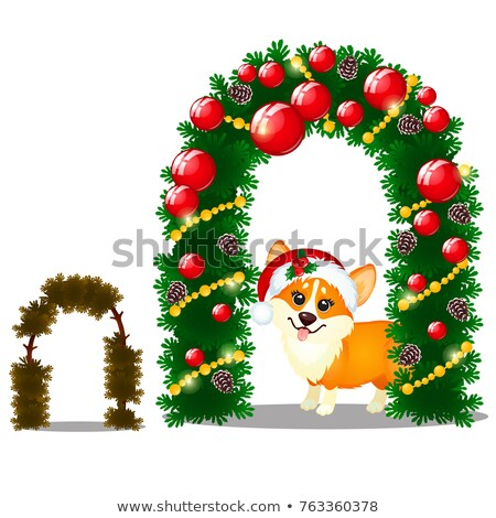 Little yellow dog with cap of Santa Claus and arch of twigs of spruce isolated on a white background Stock photo © Lady-Luck