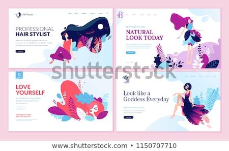 Organiczny kosmetyki app interfejs szablon studia Zdjęcia stock © RAStudio