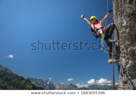 joli · Homme · escalade · Rock · femme · soleil - photo stock © lightpoet