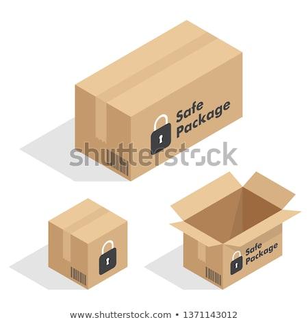 Karton barna doboz izometrikus kilátás 3d illusztráció Stock fotó © orensila
