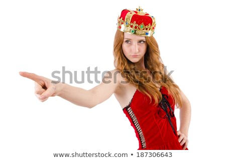 Redhead pretty  girl with crown pressing virtual buttons  isolat Stock photo © Elnur