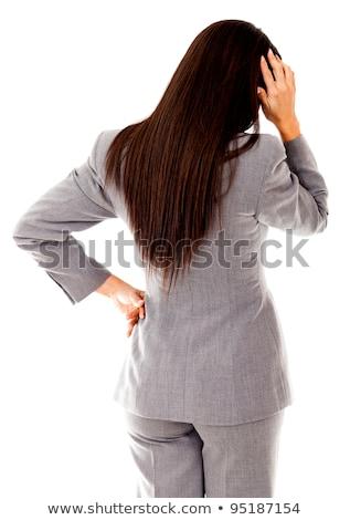Hátsó nézet nő fej szőke nő fiatal nő zöld Stock fotó © AndreyPopov