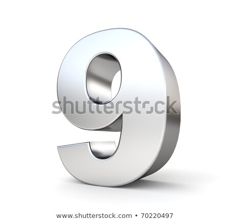 Brushed metal font Number 9 NINE 3D Stock photo © djmilic