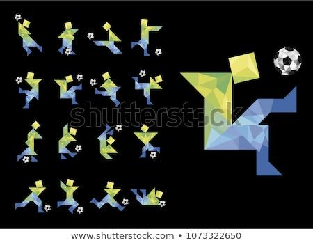 oude · poster · voetbal · gras · muur · achtergrond - stockfoto © darkves