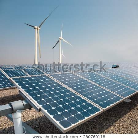 solar panels and wind power farm , new energy background Stock photo © galitskaya